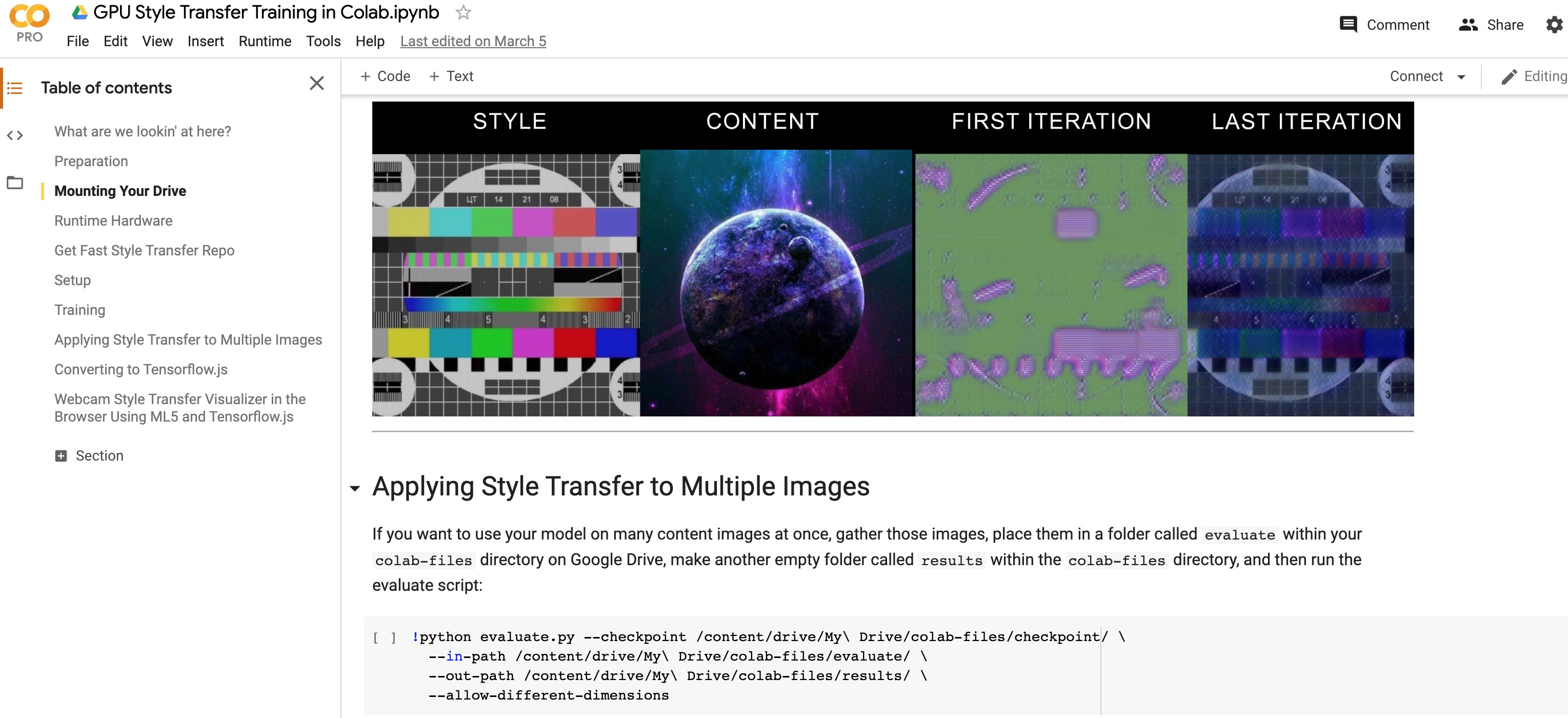 Colab GPU Model Training with Style Transfer